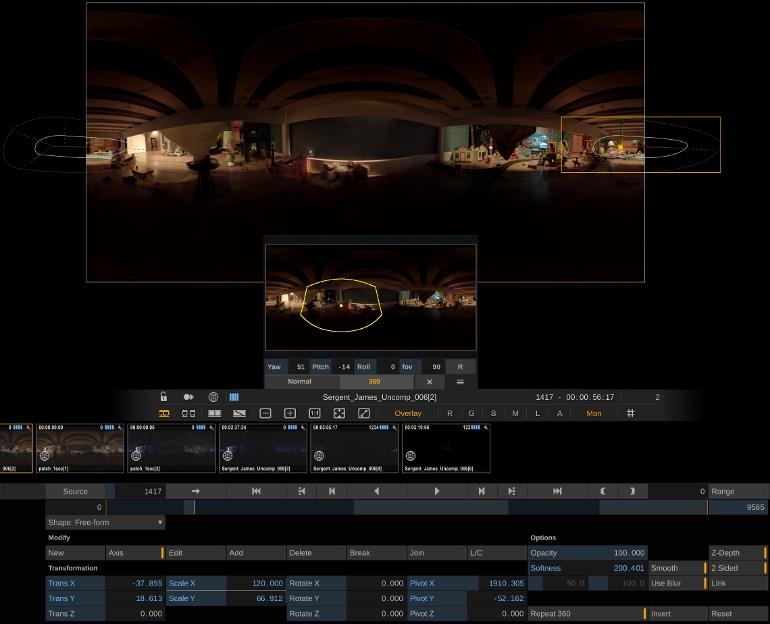 LE PANZOOM et le REPEAT 360° permettent d'étalonner des images en VR comme dans un projet classique.